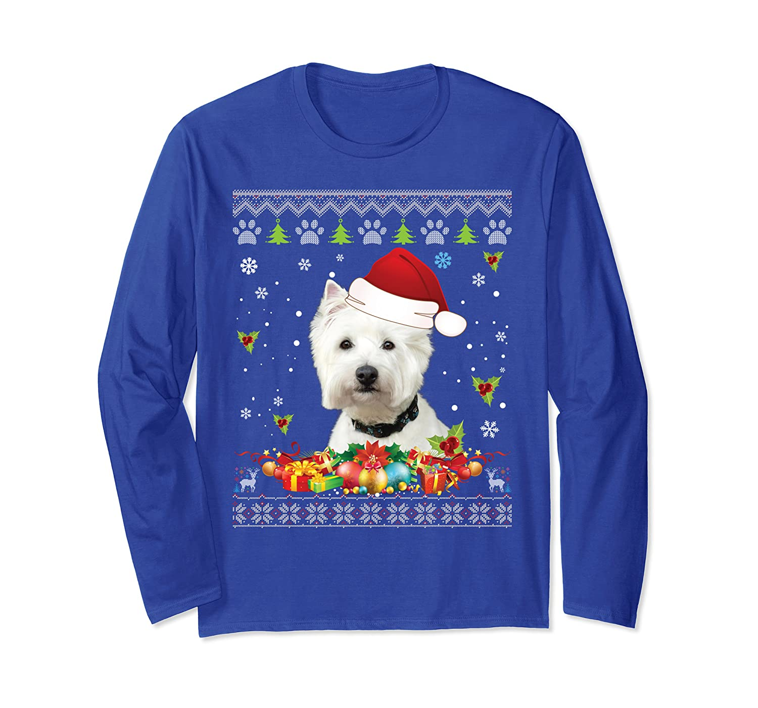 Merry Christmas Westie Dog Ugly Sweater Santa Claus Lover Long Sleeve T-Shirt