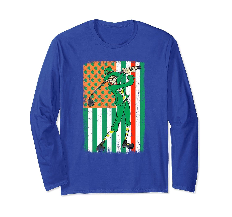 Golfing Fireman Irish USA Firefighter Flag St Patrick's Day Long Sleeve T-Shirt-Colonhue