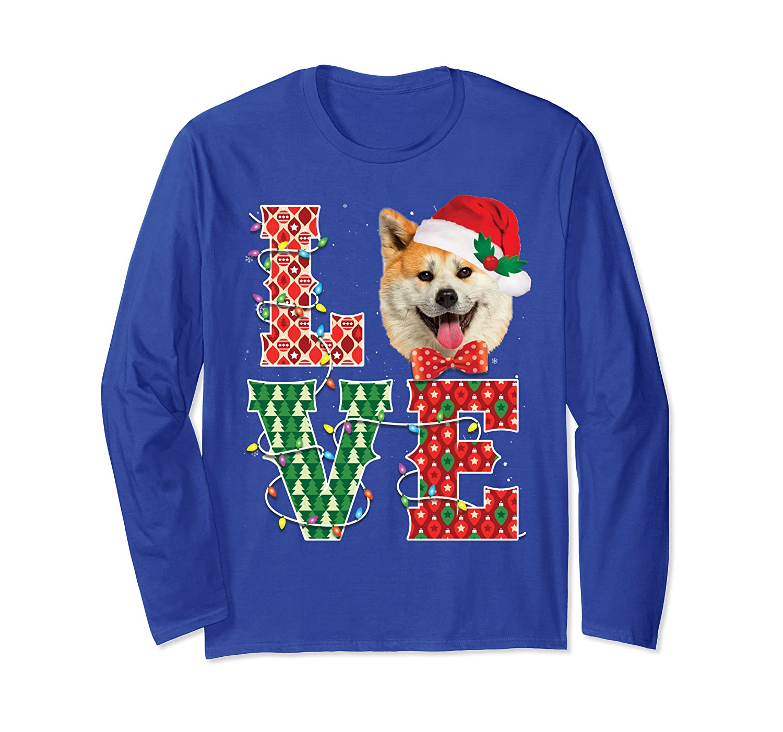 Akita Love Christmas Akita Santa Hat Tee Xmas Dog Cute Gifts Long Sleeve T-Shirt-Awarplus