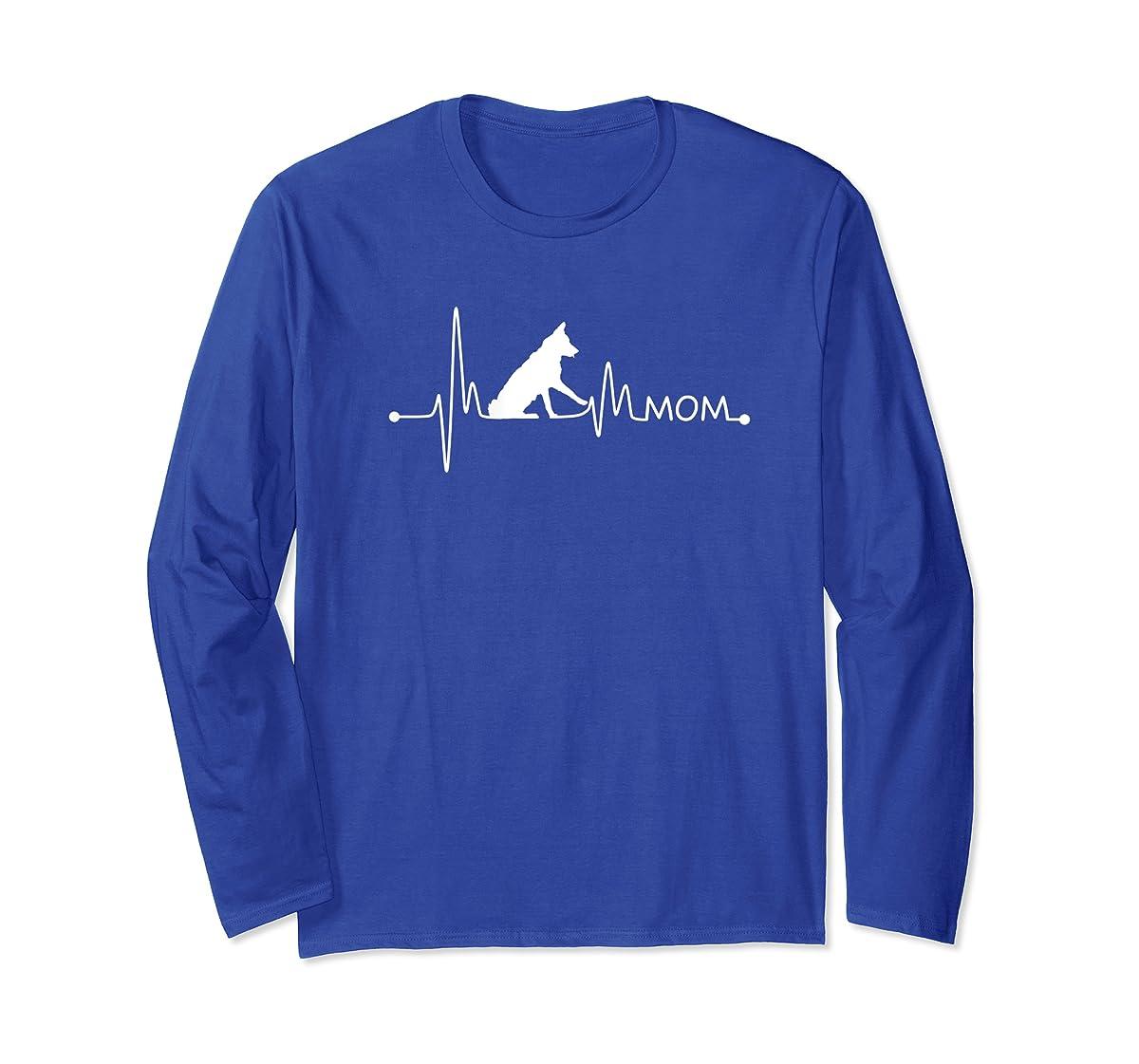 Womens Border Collie Heartbeat Mom Shirt Ekg Pulse Collie Lover Tee-Long Sleeve-Royal