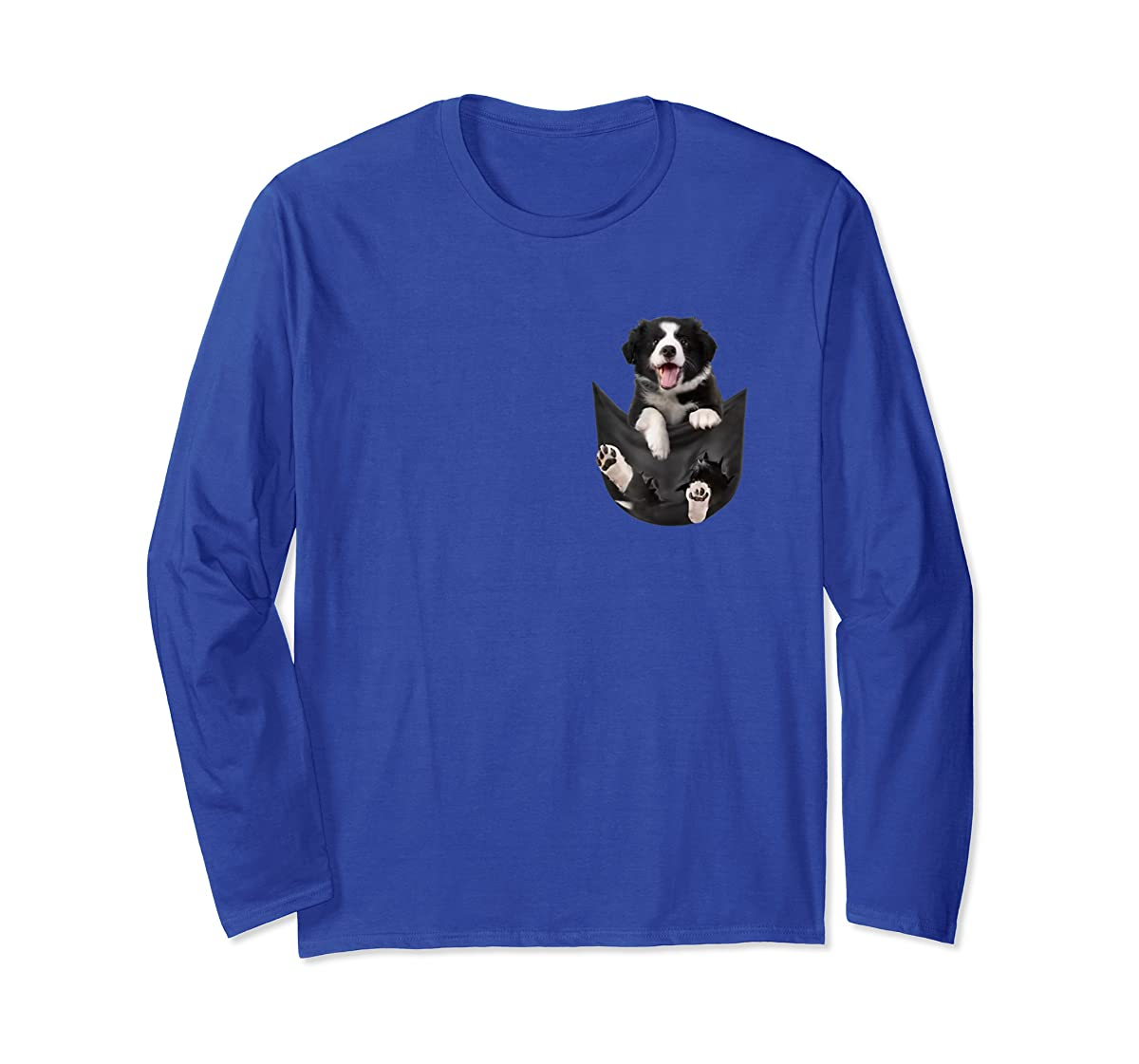 Border Collies Inside In Pocket Dog Lover T shirt Funny Cute-Long Sleeve-Royal