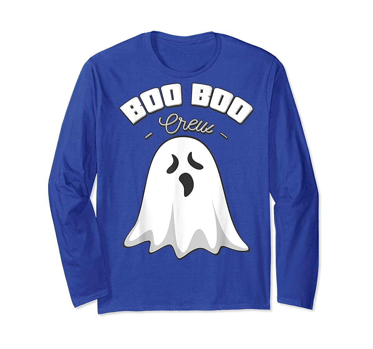 Boo Boo Crew Ghost Funny Halloween Black and Orange Night  T-Shirt-Long Sleeve-Royal