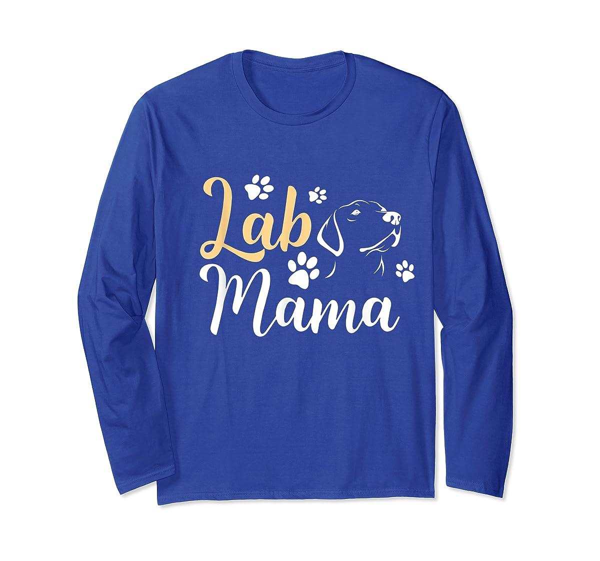Lab Mama Labrador Retriever T-Shirt Cute Lover Dog Mothers-Long Sleeve-Royal