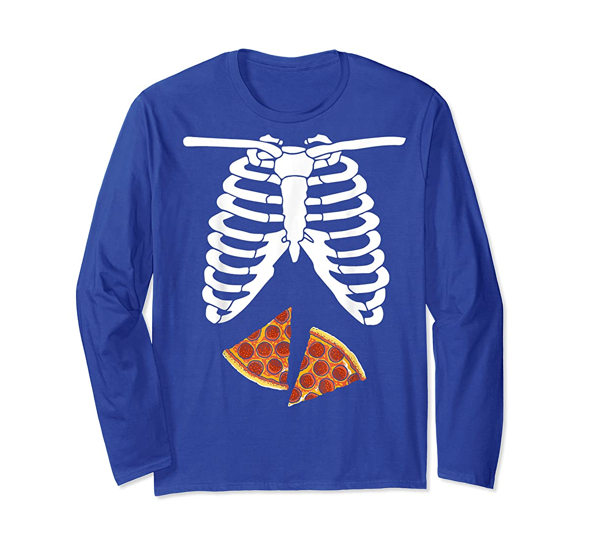 Halloween Skeleton Xray Pizza Slices Costume Rib Cage Easy T-Shirt-Long Sleeve-Royal