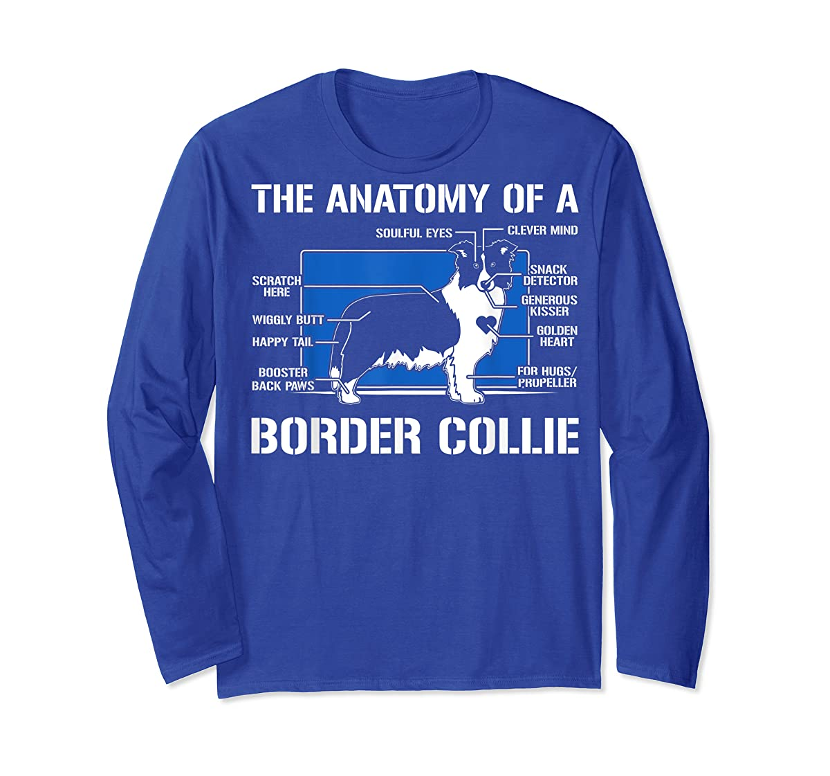 The Anatomy Of A Border Collie T shirt-Long Sleeve-Royal