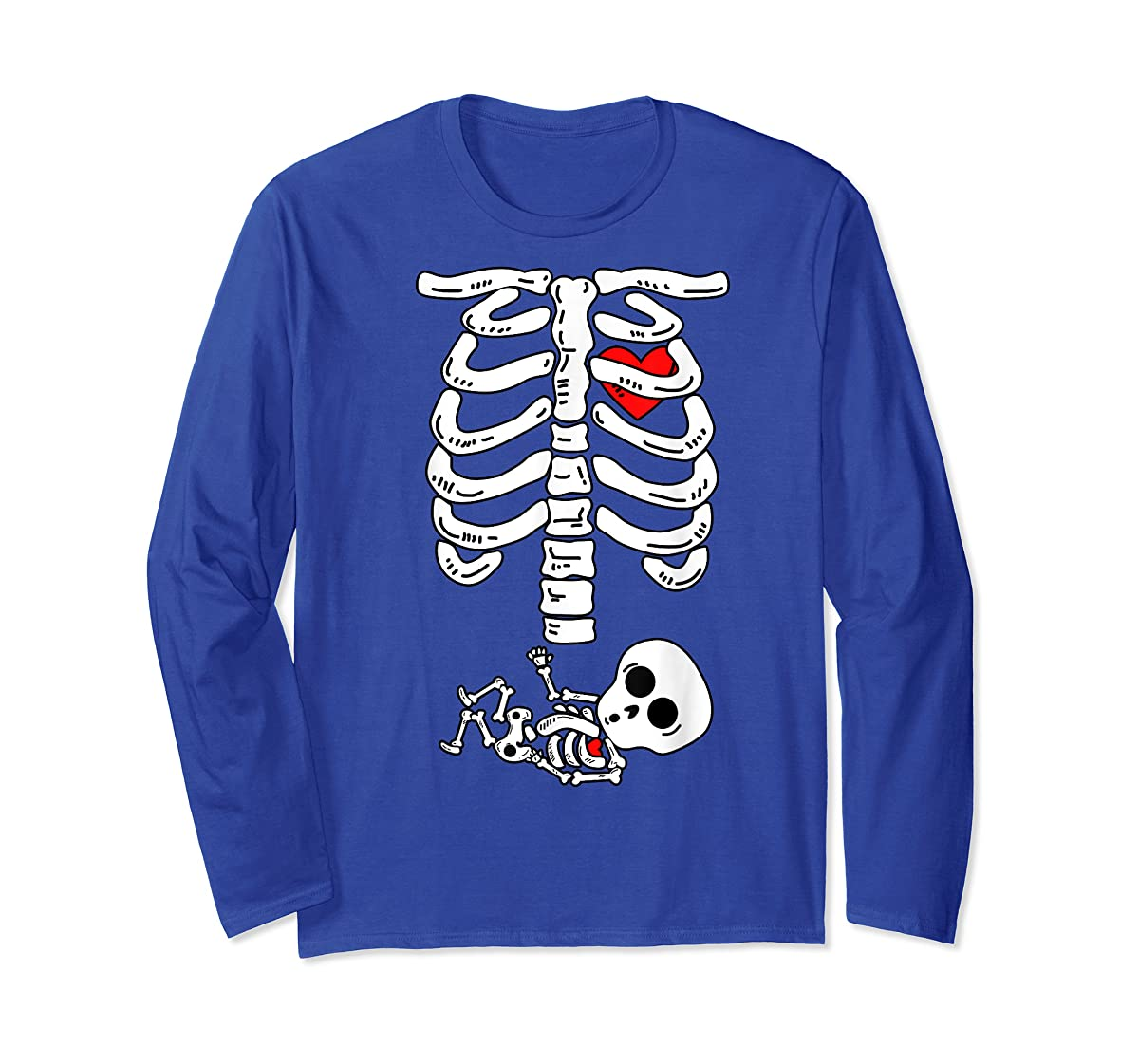 Skeleton Pregnancy Halloween Costumes For Couples T-Shirt-Long Sleeve-Royal