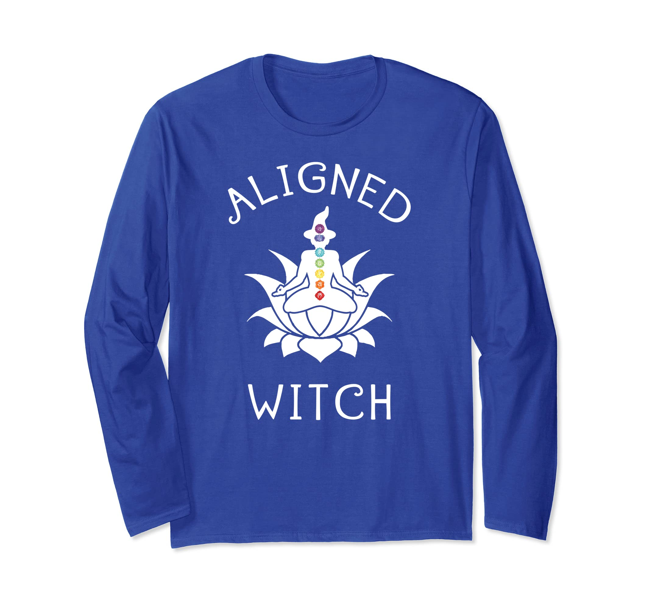 Aligned Witch Yoga Chakras Funny Halloween Long Sleeve Shirt-Rose