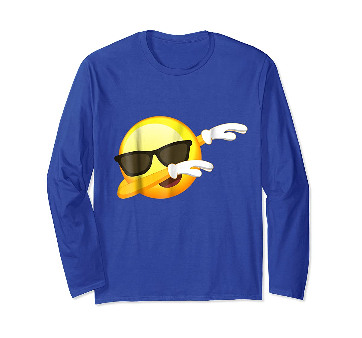 Funny Dabbing Emoji Shirt - Cool Emoji Dab T-Shirt-Long Sleeve-Royal