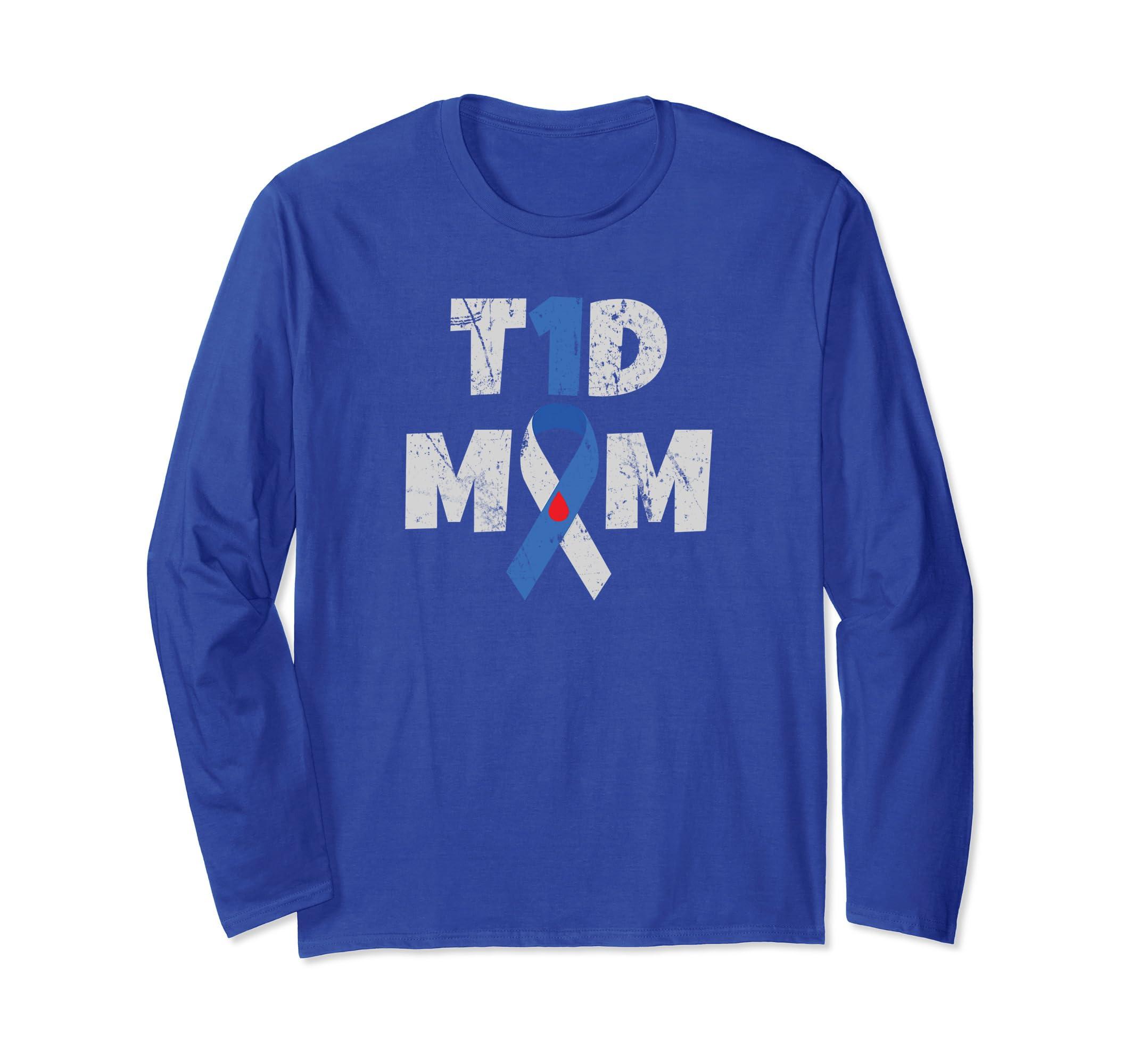 T1D Mom Diabetes Awareness Long Sleeve Shirt Mother Gift-azvn