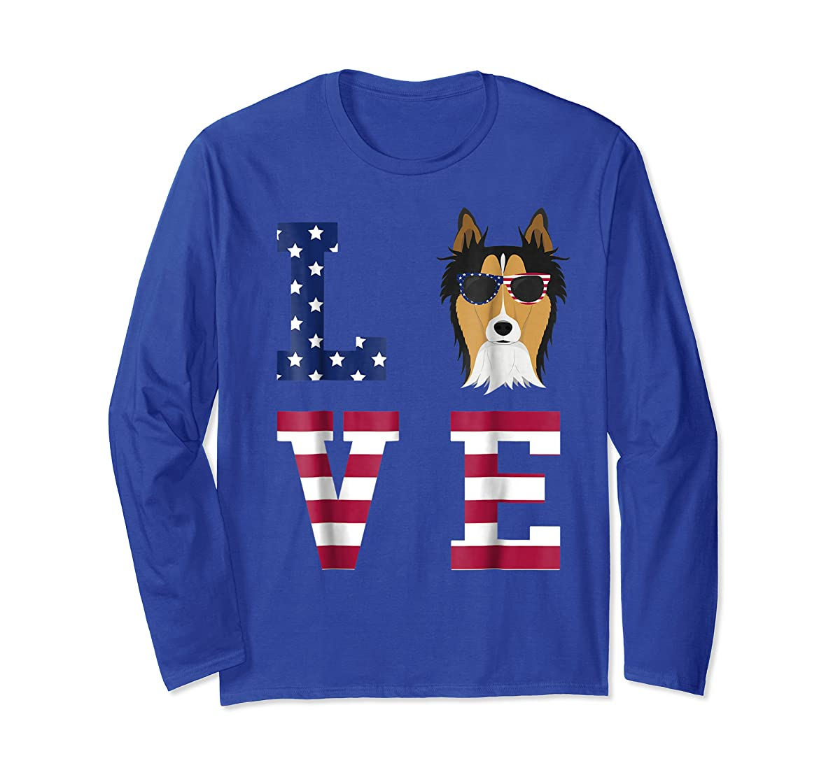 Collie Dog - 4th Of July T-Shirt-Long Sleeve-Royal