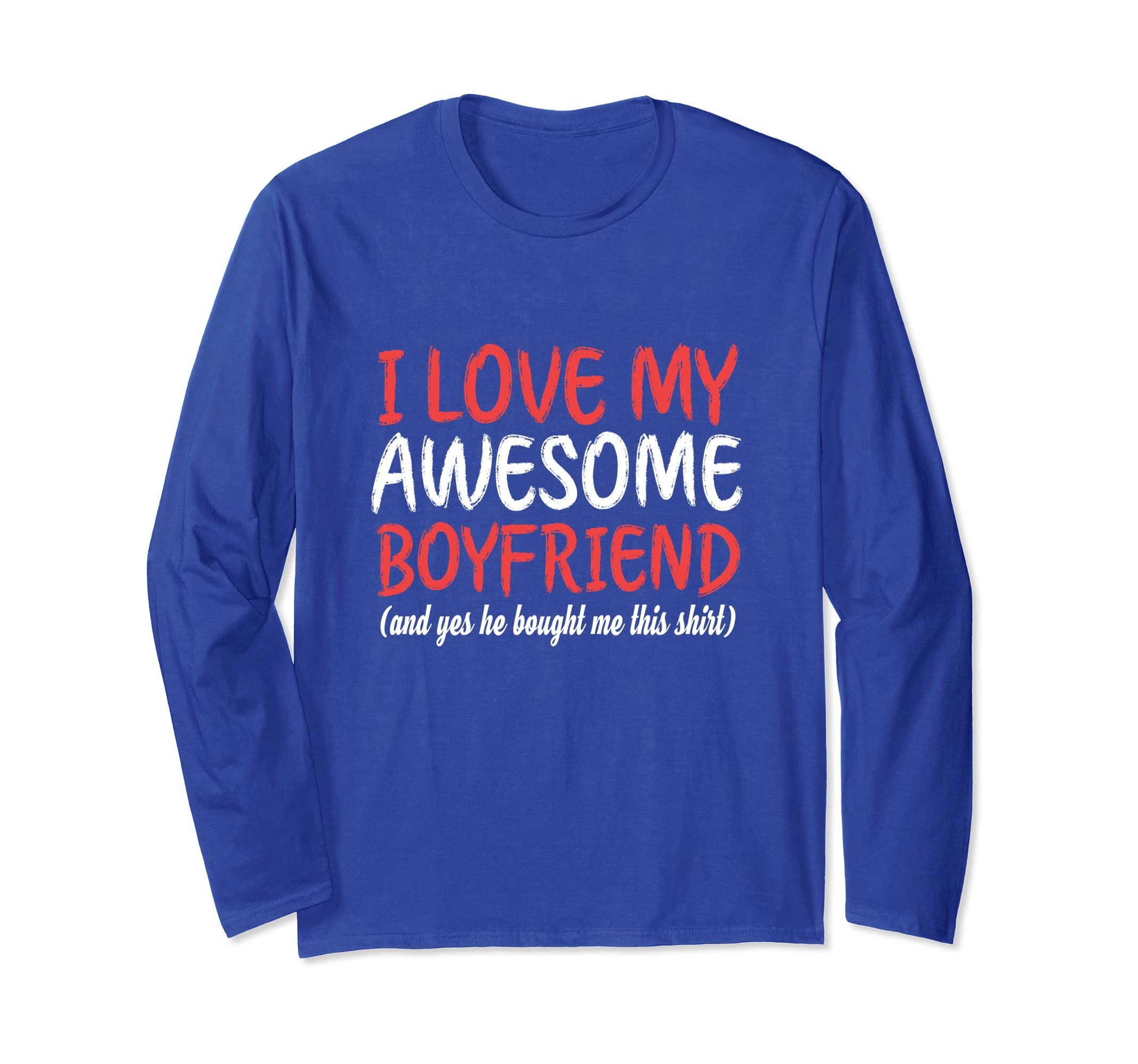 Love My Awesome Boyfriend Long Sleeve Funny Xmas Family Gift-ANZ