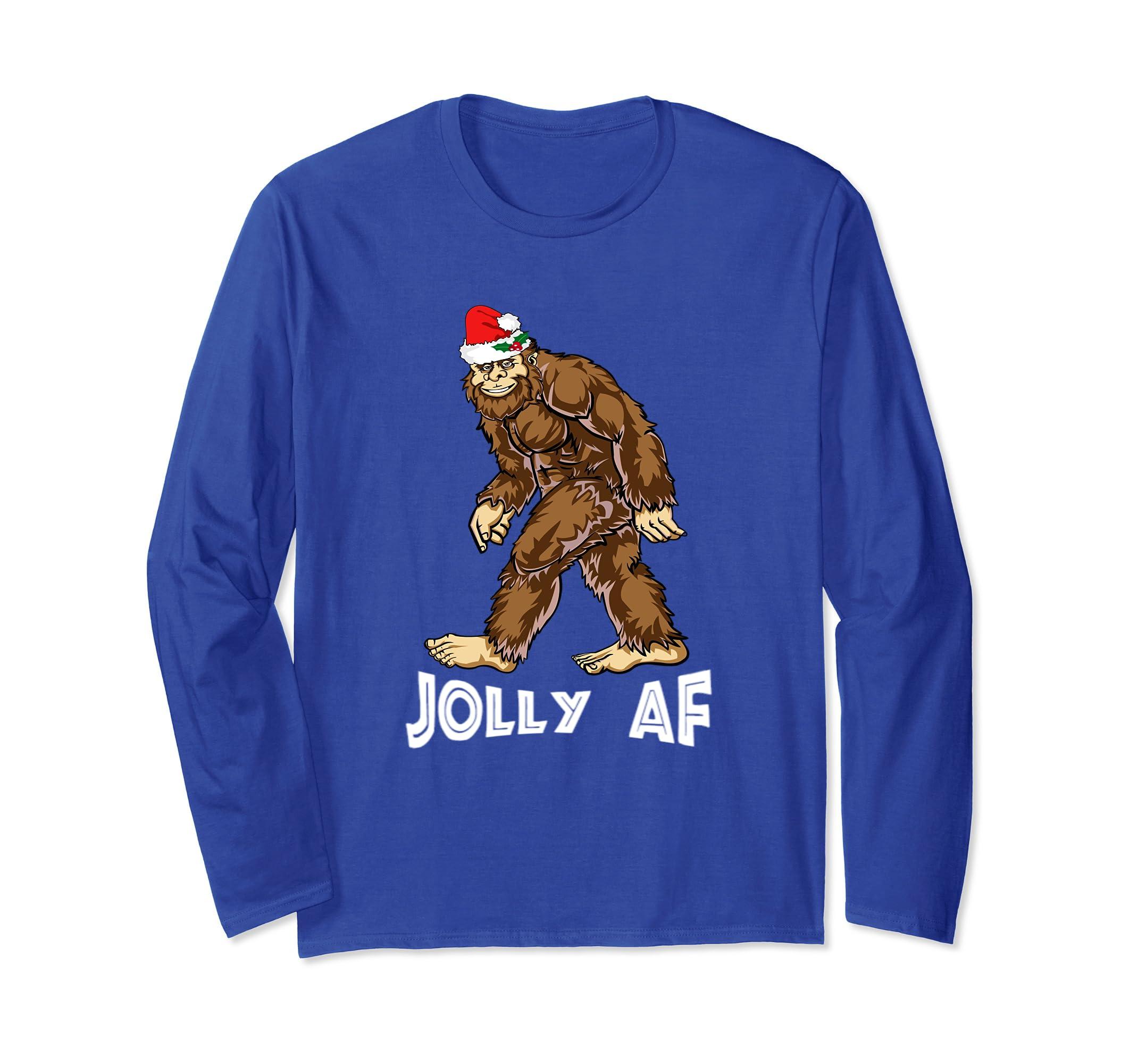 Amazon.com: Bigfoot Christmas Shirt Boy Women Men Santa ...