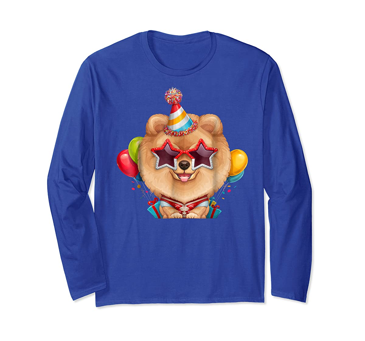 Orange Pomeranian in Glasses Birthday T-Shirt-Long Sleeve-Royal