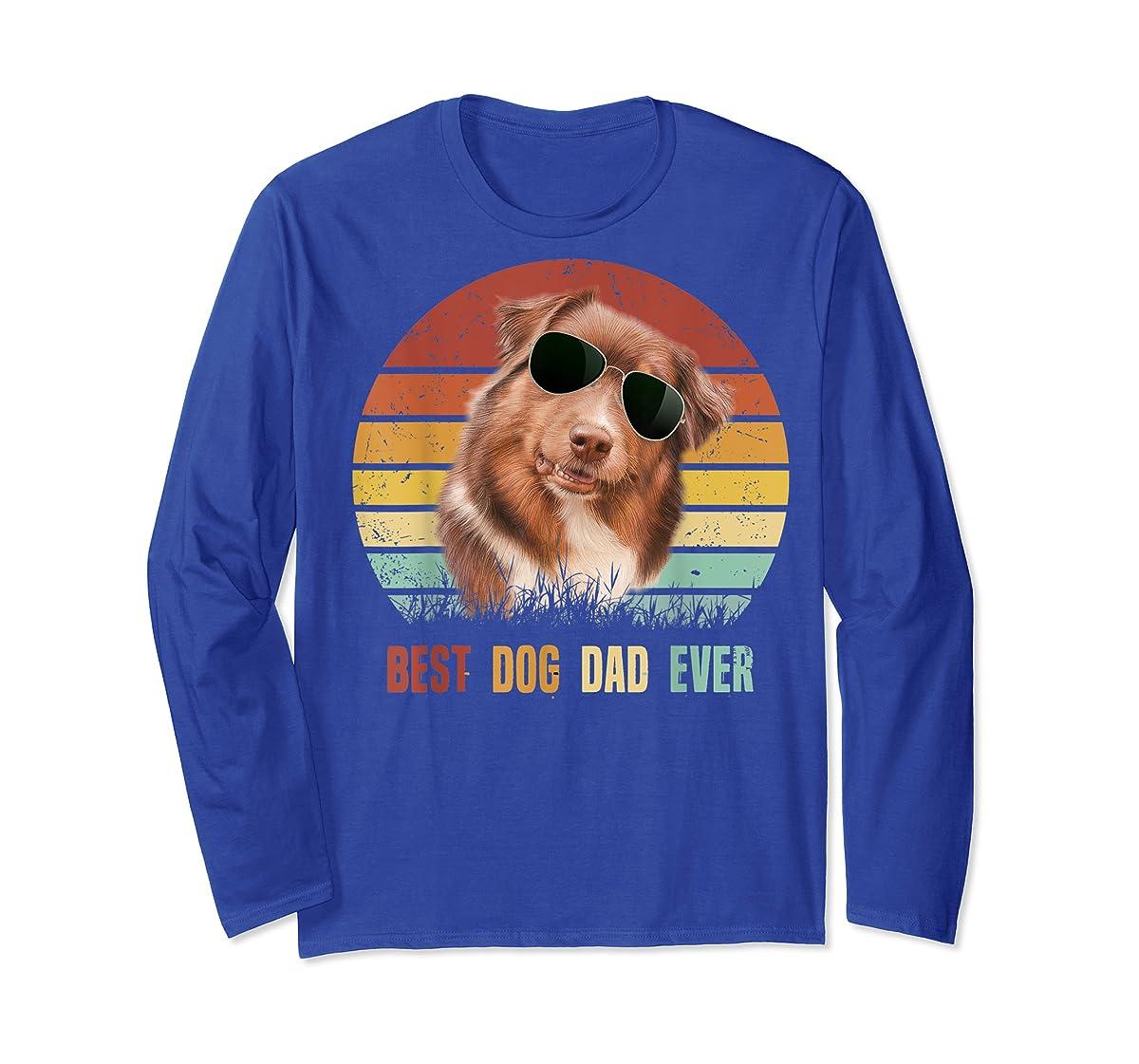 Mens Best Dog Dad Ever Australian Shepherd Father' s Day Tshirt-Long Sleeve-Royal