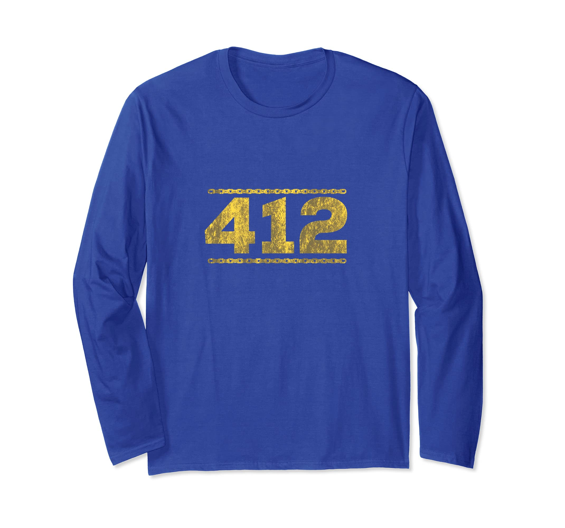 412 Distressed Chain T Shirt Pittsburgh Long Sleeve T Shirt-azvn