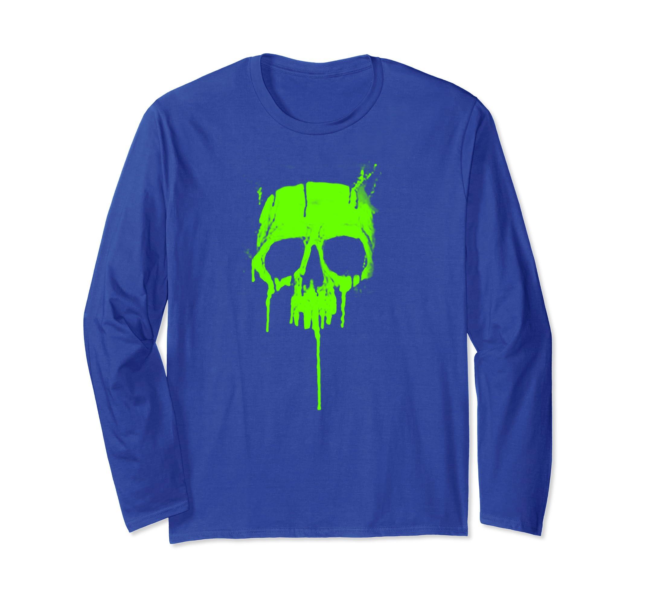 =Metal Graffiti Skull   Dripping Paint Long Sleeve Shirt-ln
