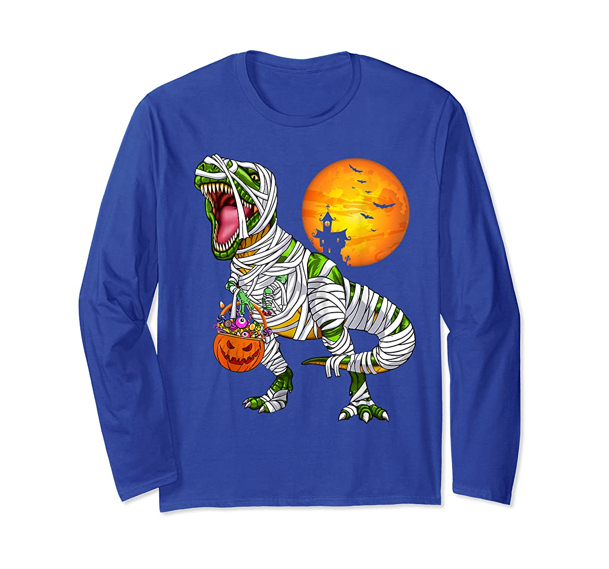 Halloween Gift For Boys Kids Dinosaur T rex Mummy Pumpkin T-Shirt-Long Sleeve-Royal