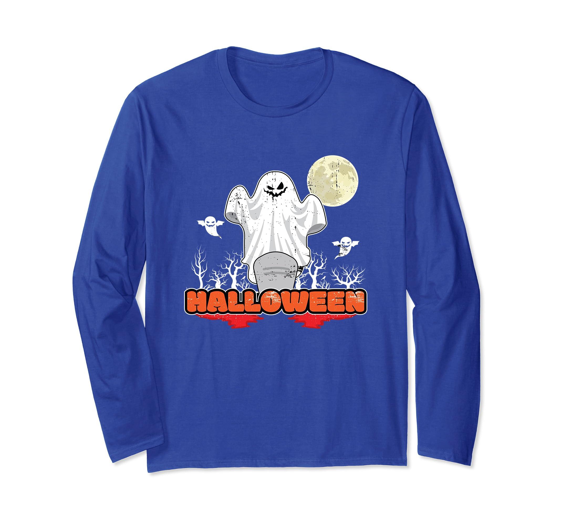 Halloween Long Sleeve T-Shirt Ghost Season Greetings-ANZ