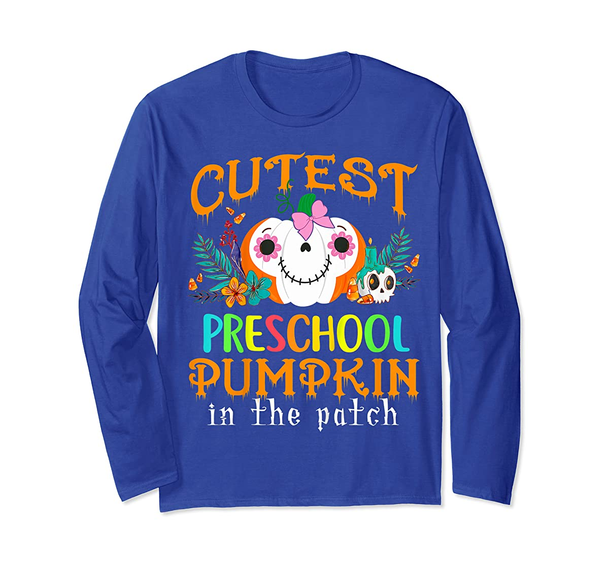 Kids Cutest Preschool Pumpkin In The Patch Halloween Costume Girl T-Shirt-Long Sleeve-Royal