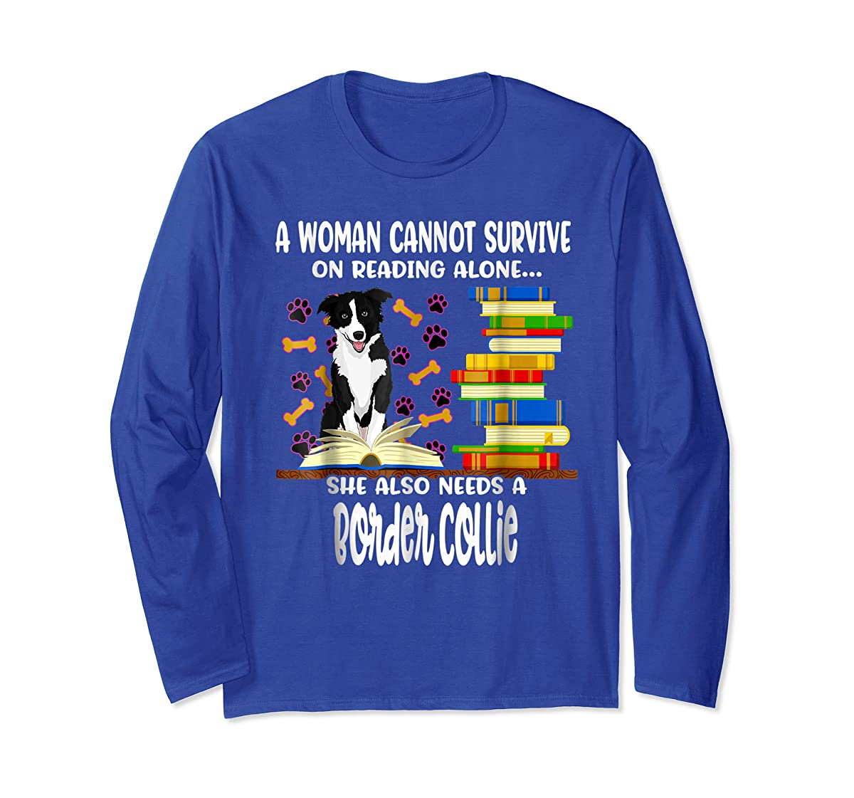 A Woman Reading Book Dog Border Collie Shirt-Long Sleeve-Royal