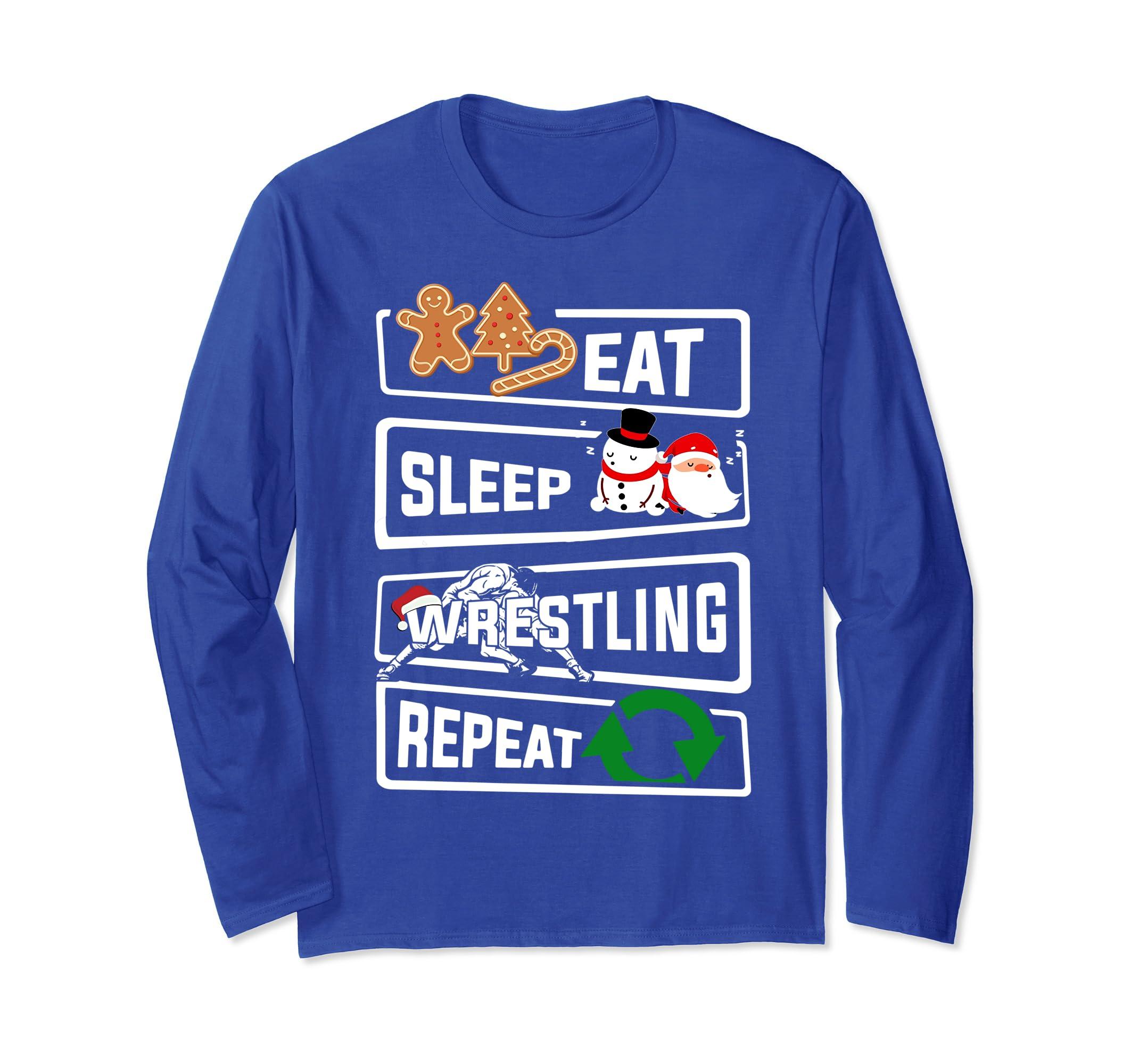 Eat Sleep Wrestling Repeat Long Sleeve shirt Santa Xmas-ln
