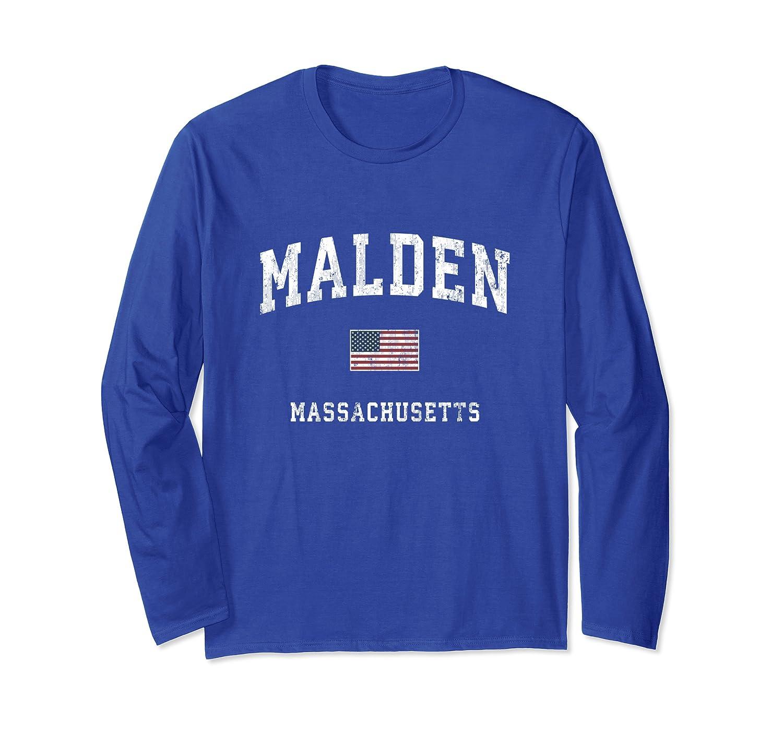 Malden Massachusetts MA Vintage American Flag Sports Design Long Sleeve T-Shirt-ANZ