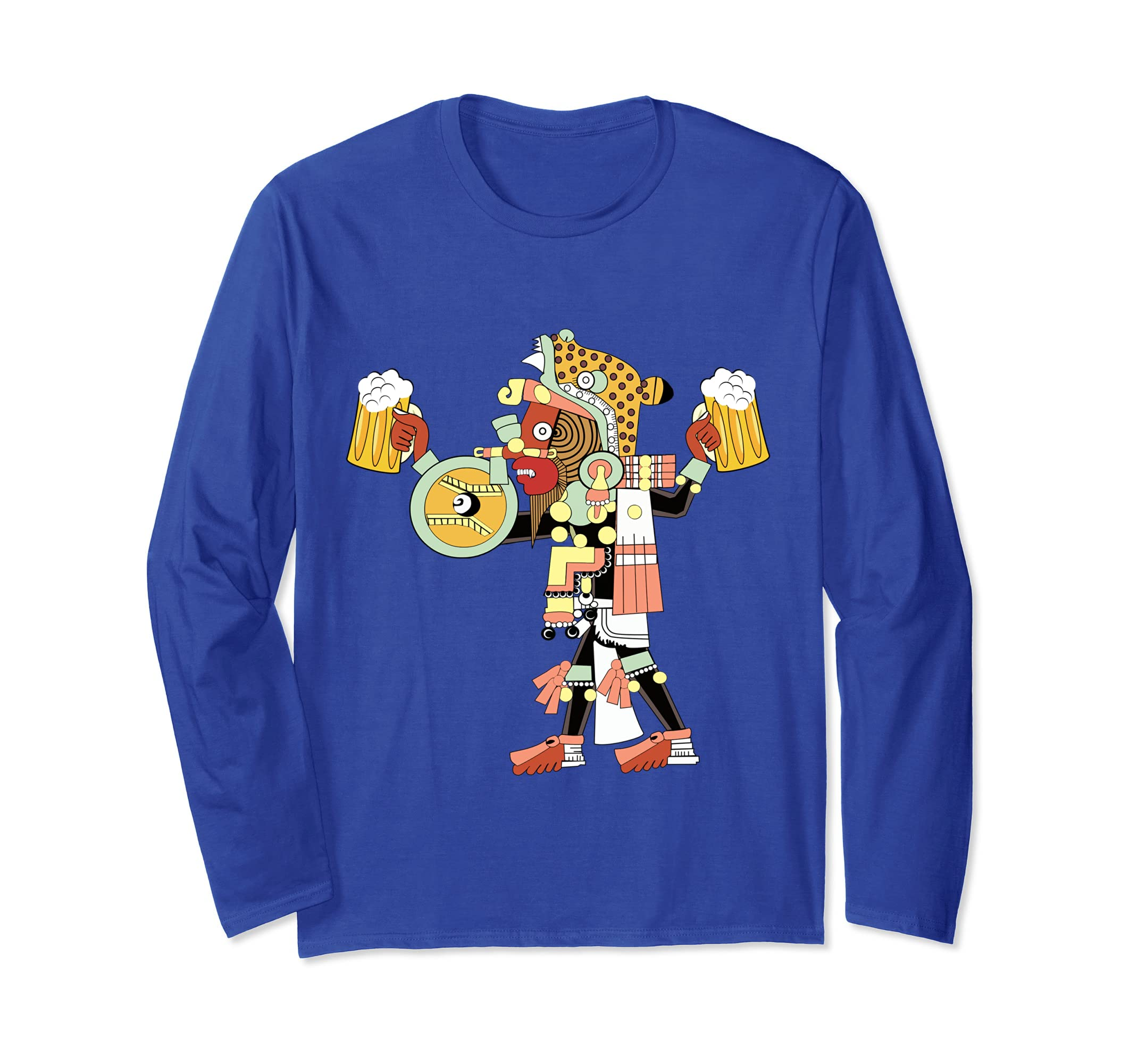 Aztec Maya Culture Longsleeve  Jaguar Warrior Beer Drinking-Awarplus