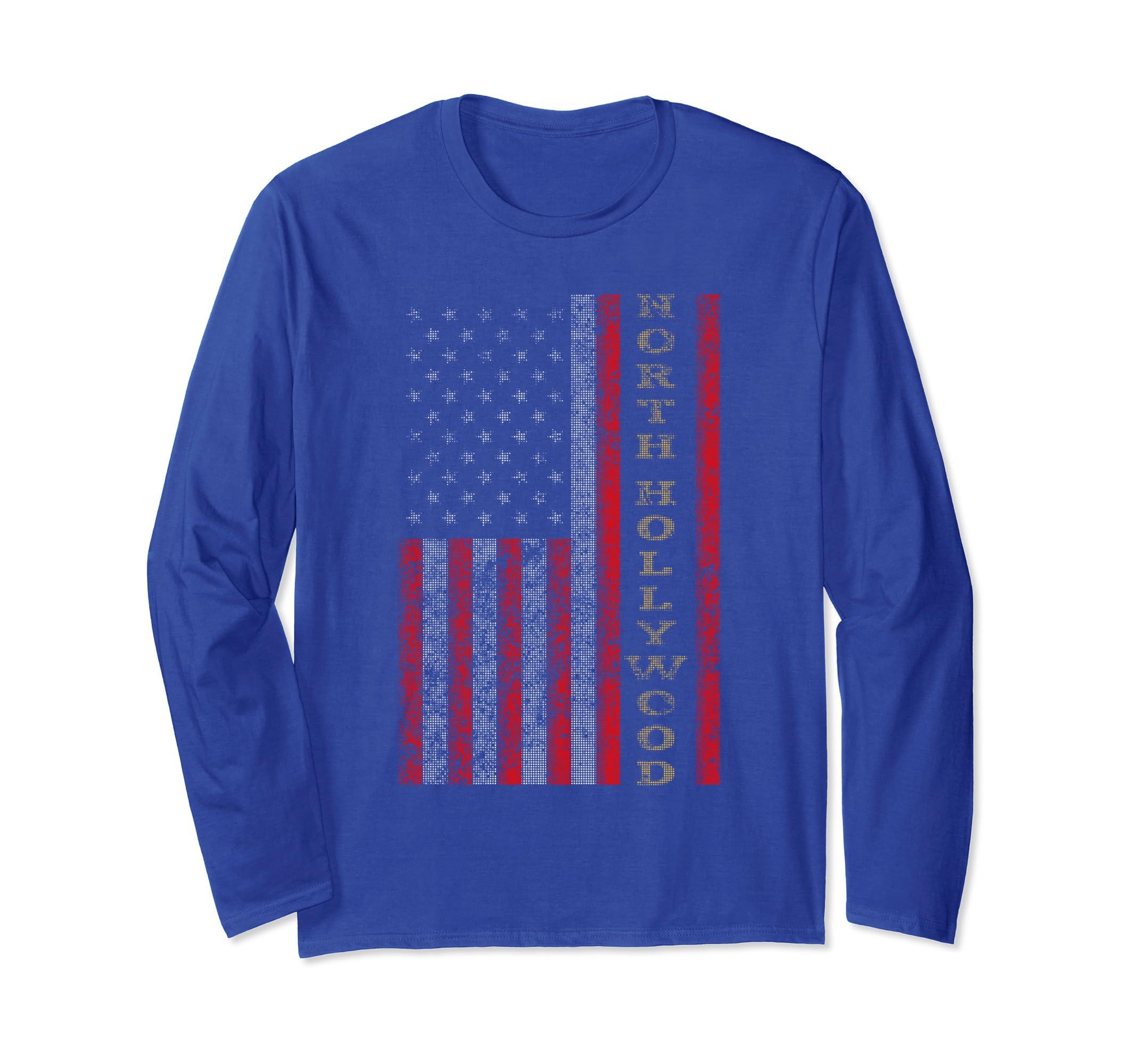 Cool Patriotic North Hollywood US Flag Long Sleeve Shirt-SFL