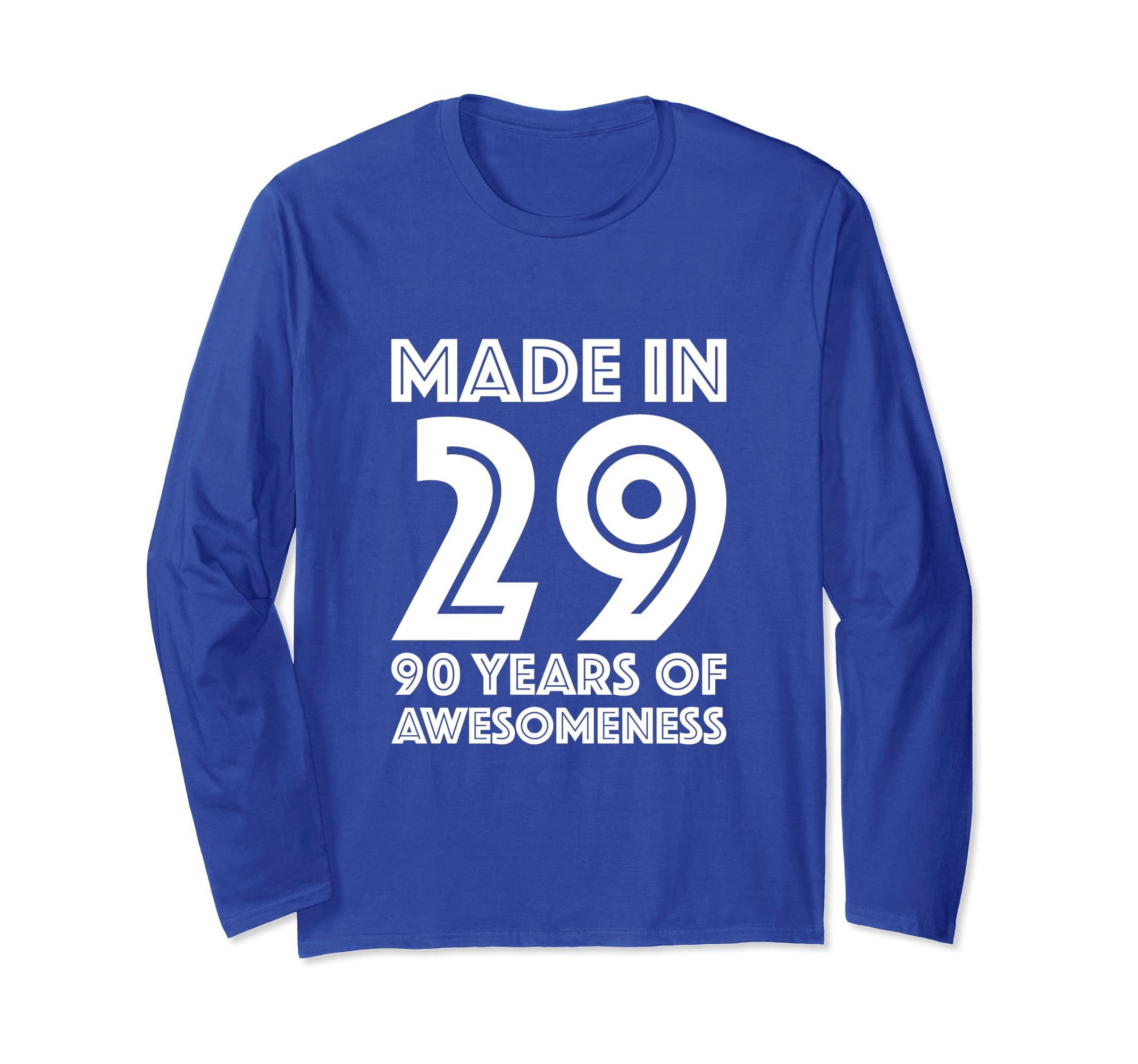 Amazon 90th Birthday Long Sleeve Men Gift 90 Year Old Grandpa Dad Clothing