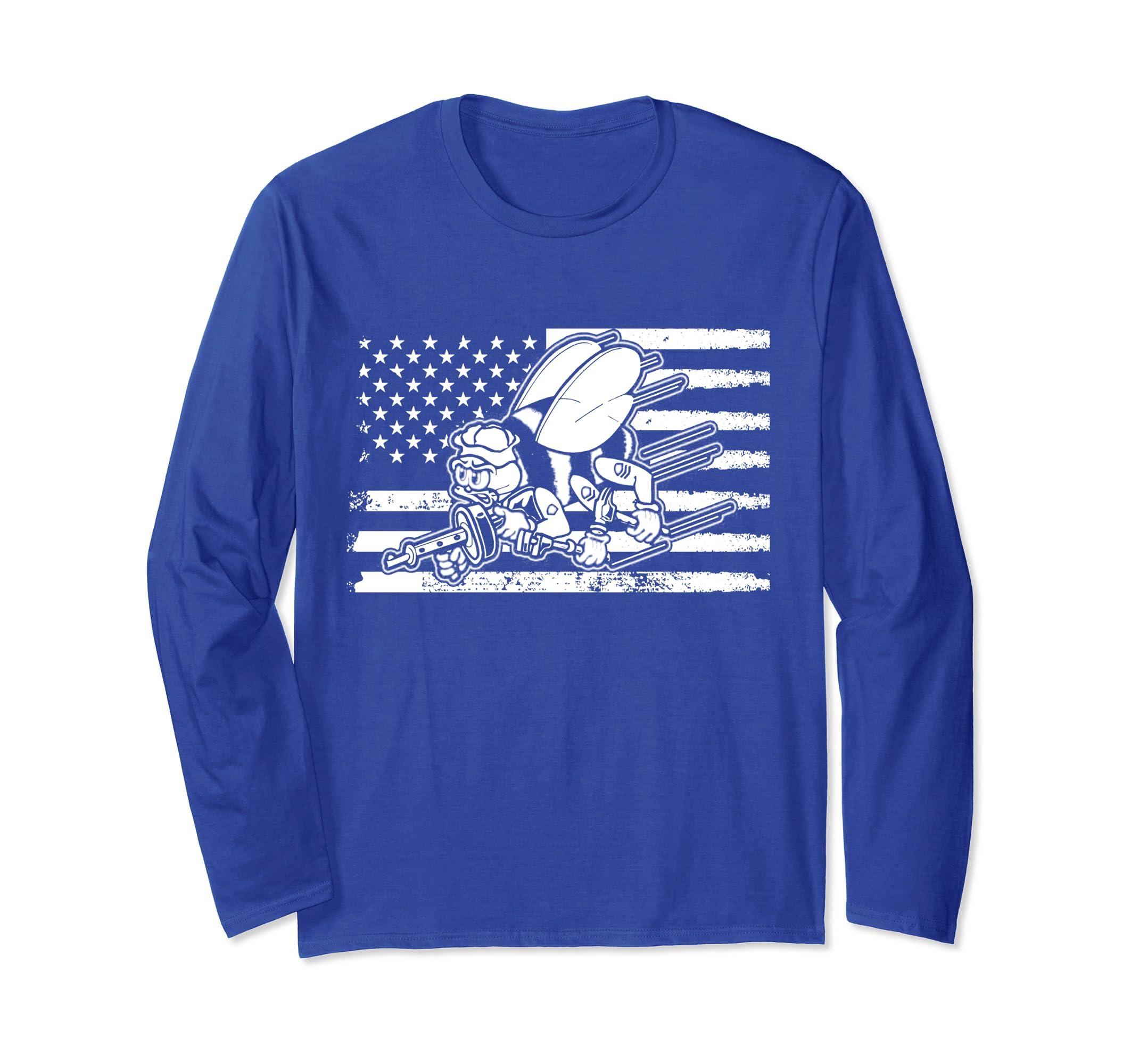 American flag Seabee Longsleeve shirt-ln