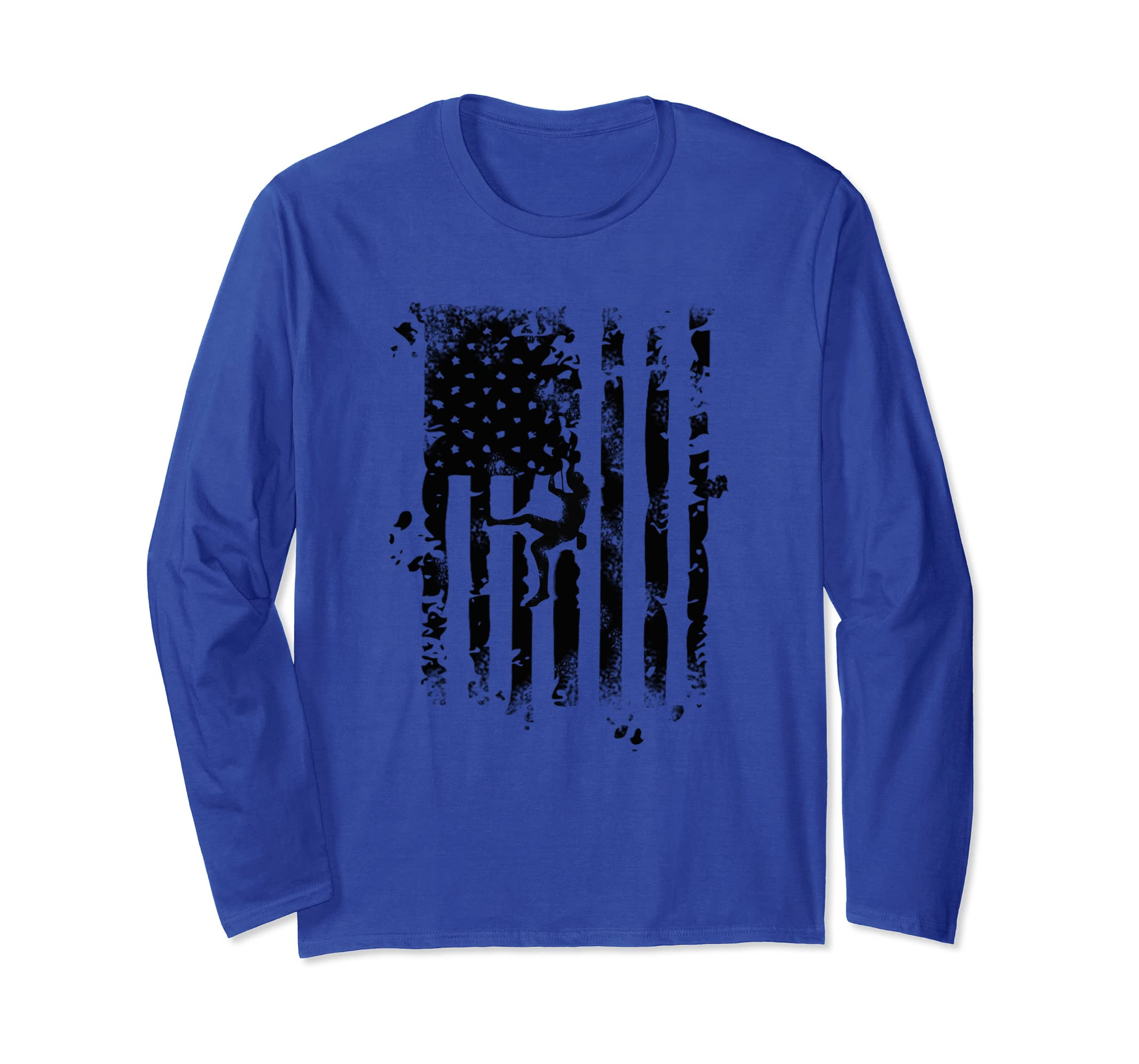 Amazon.com: Mountain Rock Climbing USA American Flag Long sleeve T Shirt: Clothing
