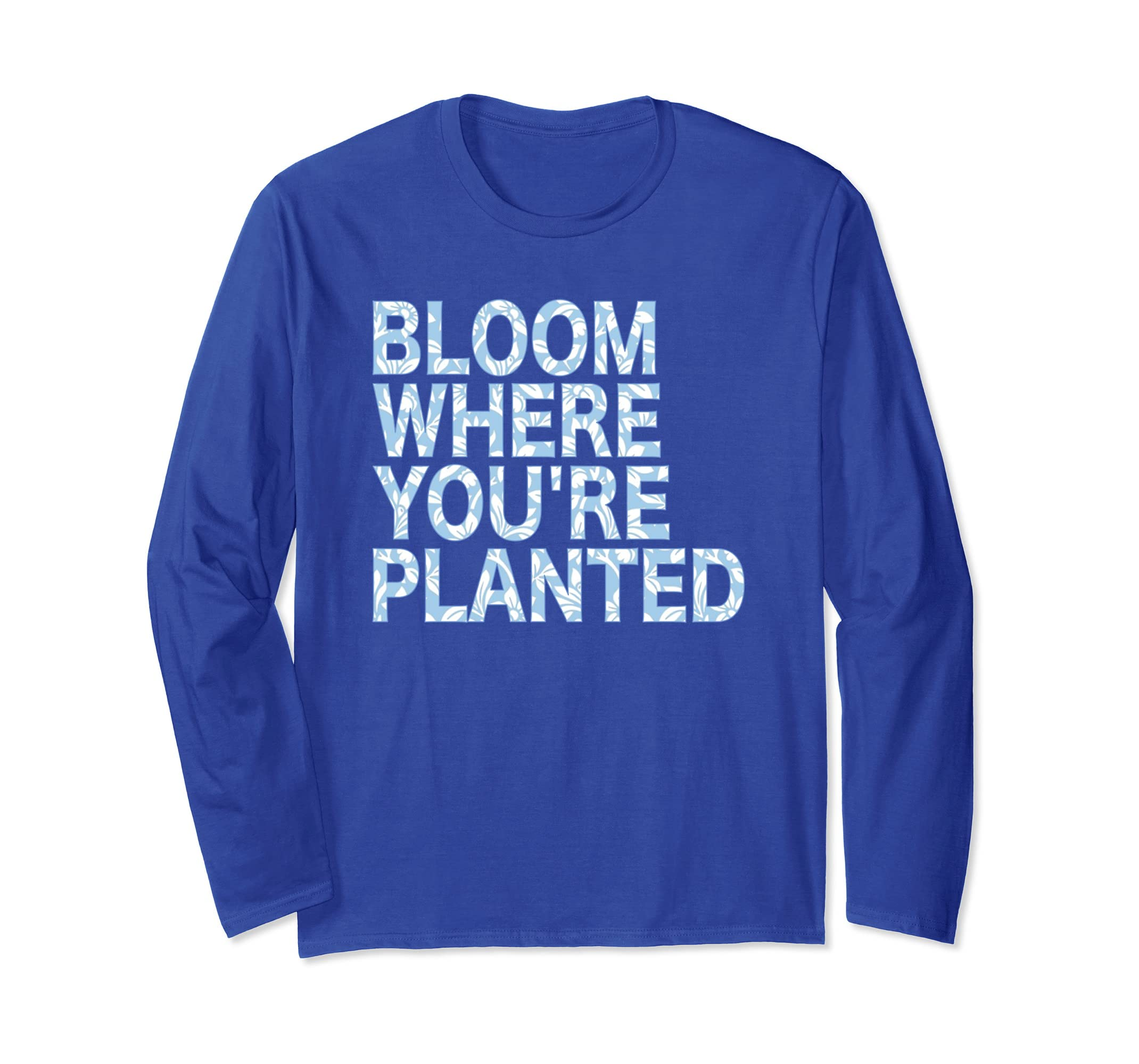 Amazon.com: Bloom Where Youre Planted T-Shirt Cute Yoga ...