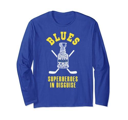 Blues Superheroes In Disguise Saint Louis Ice Hockey Fan Long Sleeve T Shirt