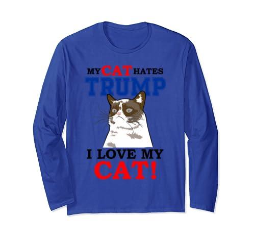 My Cat Hates Trump 2020 Election Anti Trump Impeachment Long Sleeve T Shirt