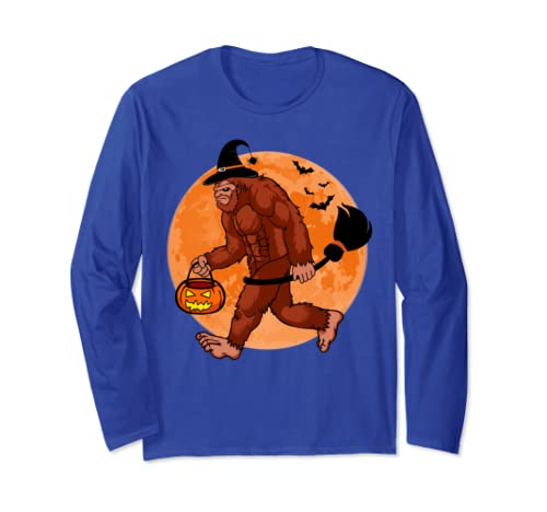 Bigfoot Sasquatch Witch Halloween Funny Gift For Men Women Long Sleeve T Shirt