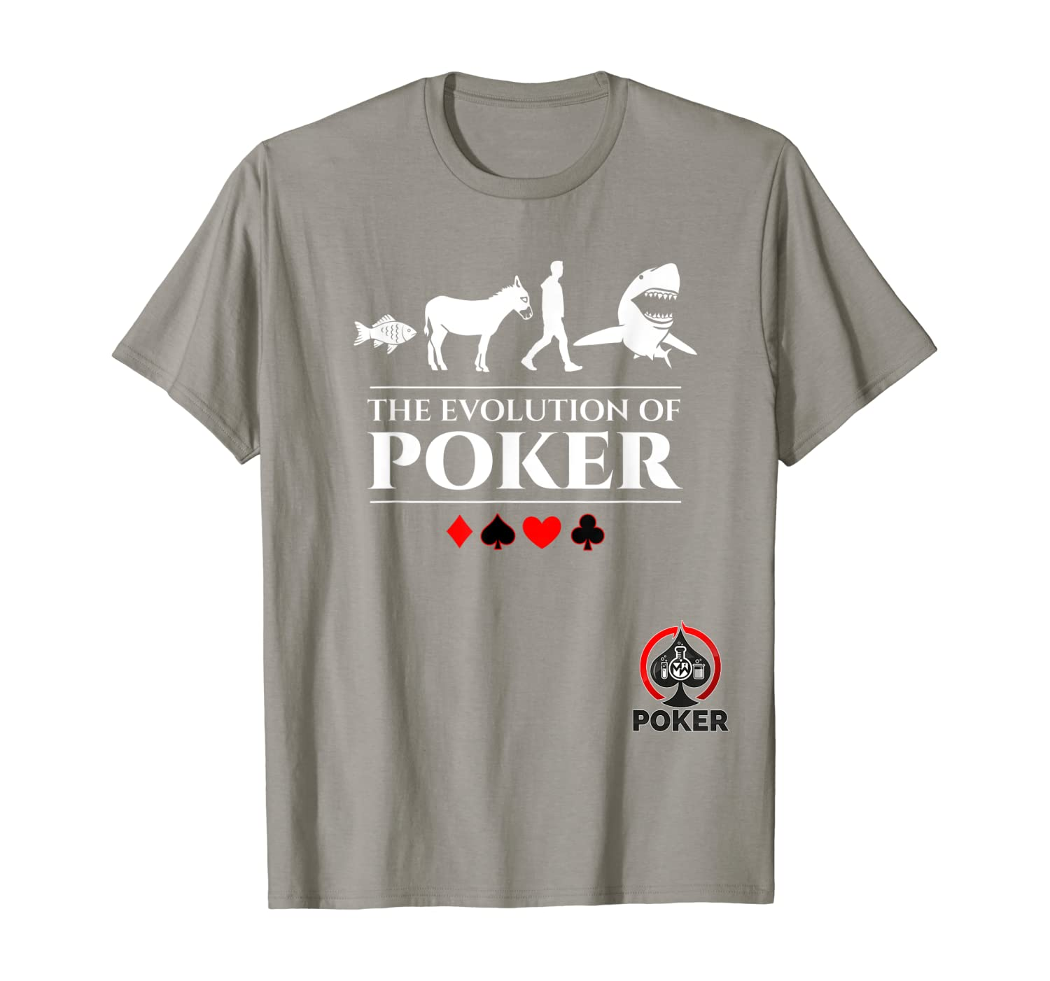 The Evolution of Poker Fish, Donkey, Man, Card Shark Shirt T-Shirt