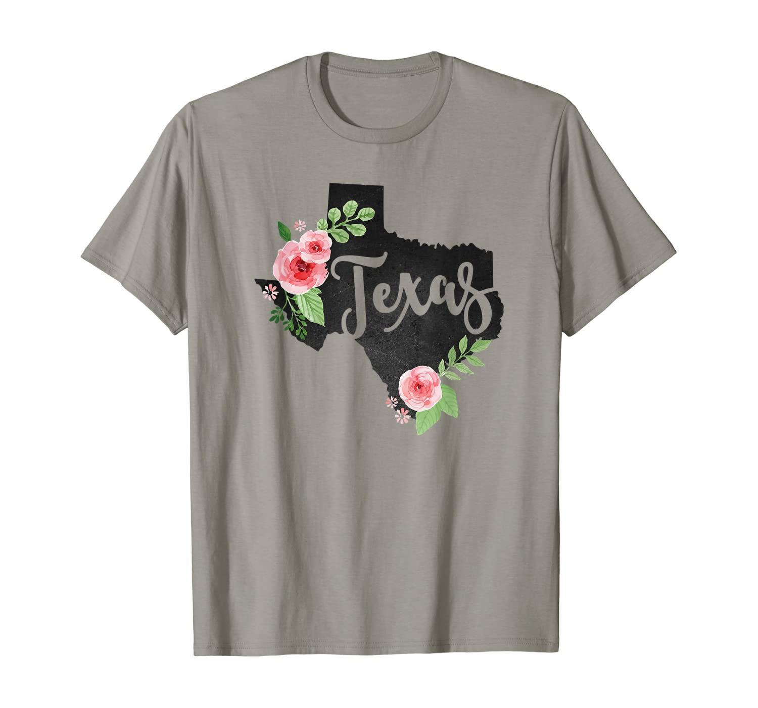 Floral Texas Chalkboard Watercolor Flowers Home State T-Shirt