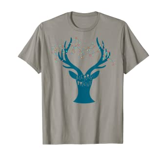 Amazon Com Merry Bright Tangled Lights Deer Antler Christmas T Shirt Clothing