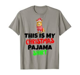 Amazon Com This Is My Christmas Pajama T Shirt Corgi Dog Santa Hat Gift Clothing