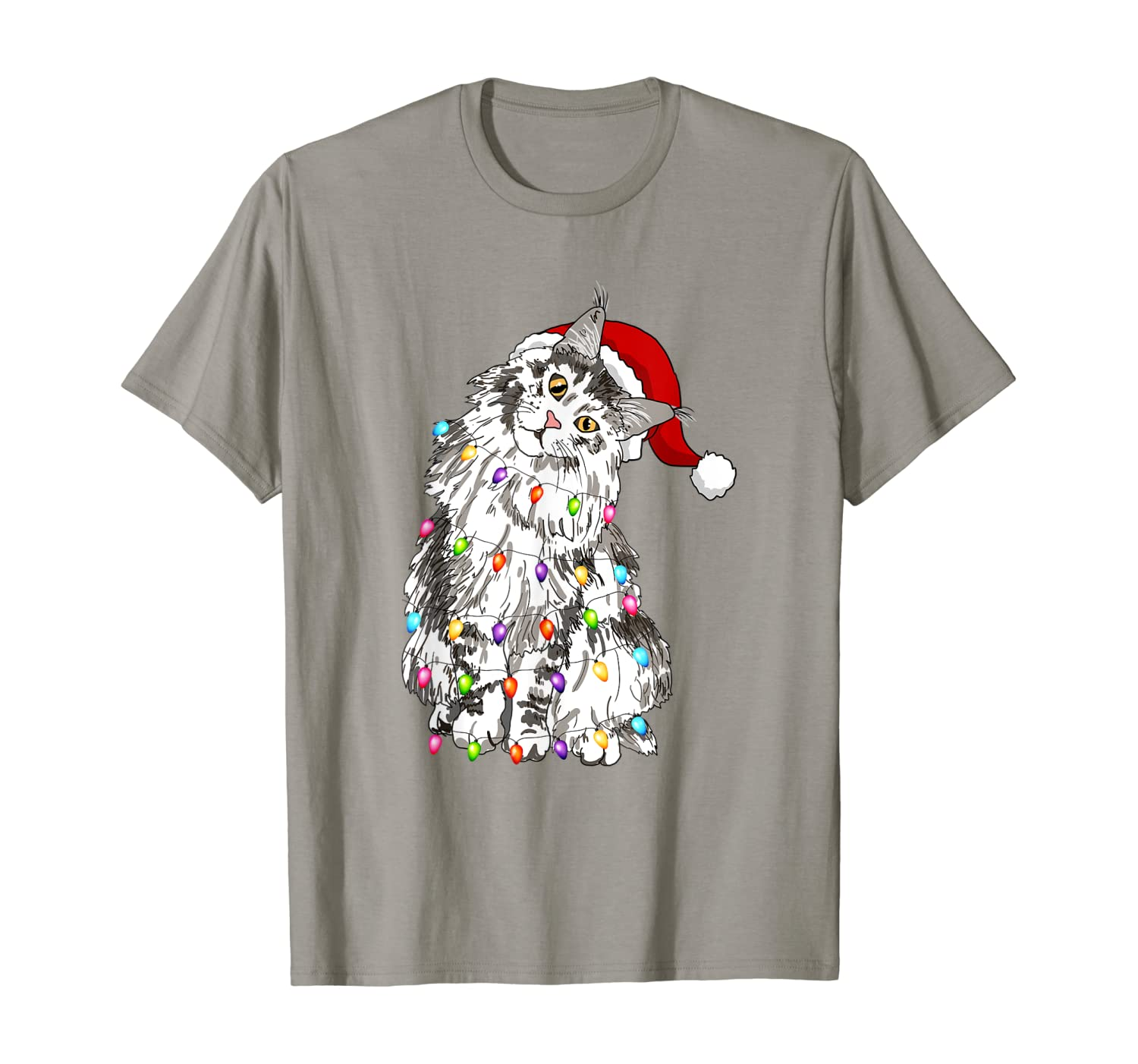Santa Maine Coon Cat with Christmas lights Gifts Xmas Family T-Shirt