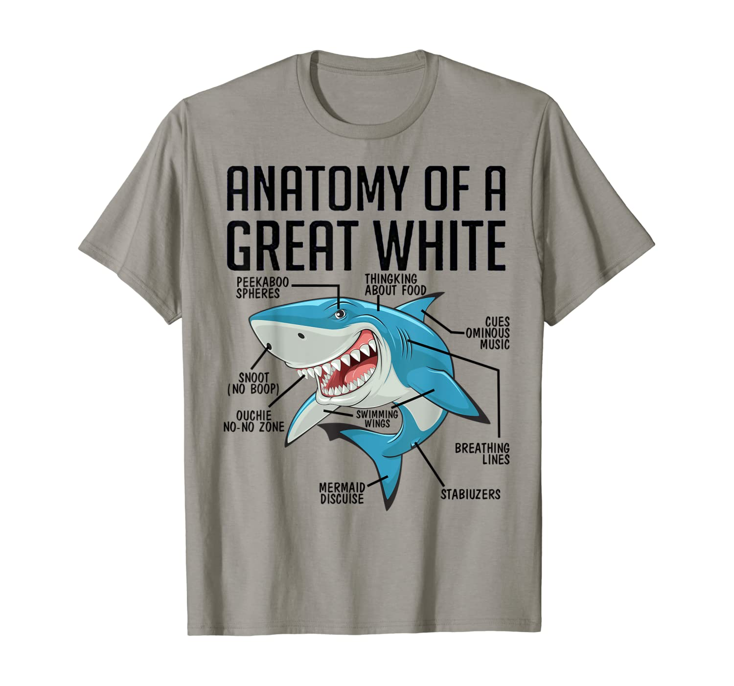 Anatomy Of A Great White Shark Tshirt