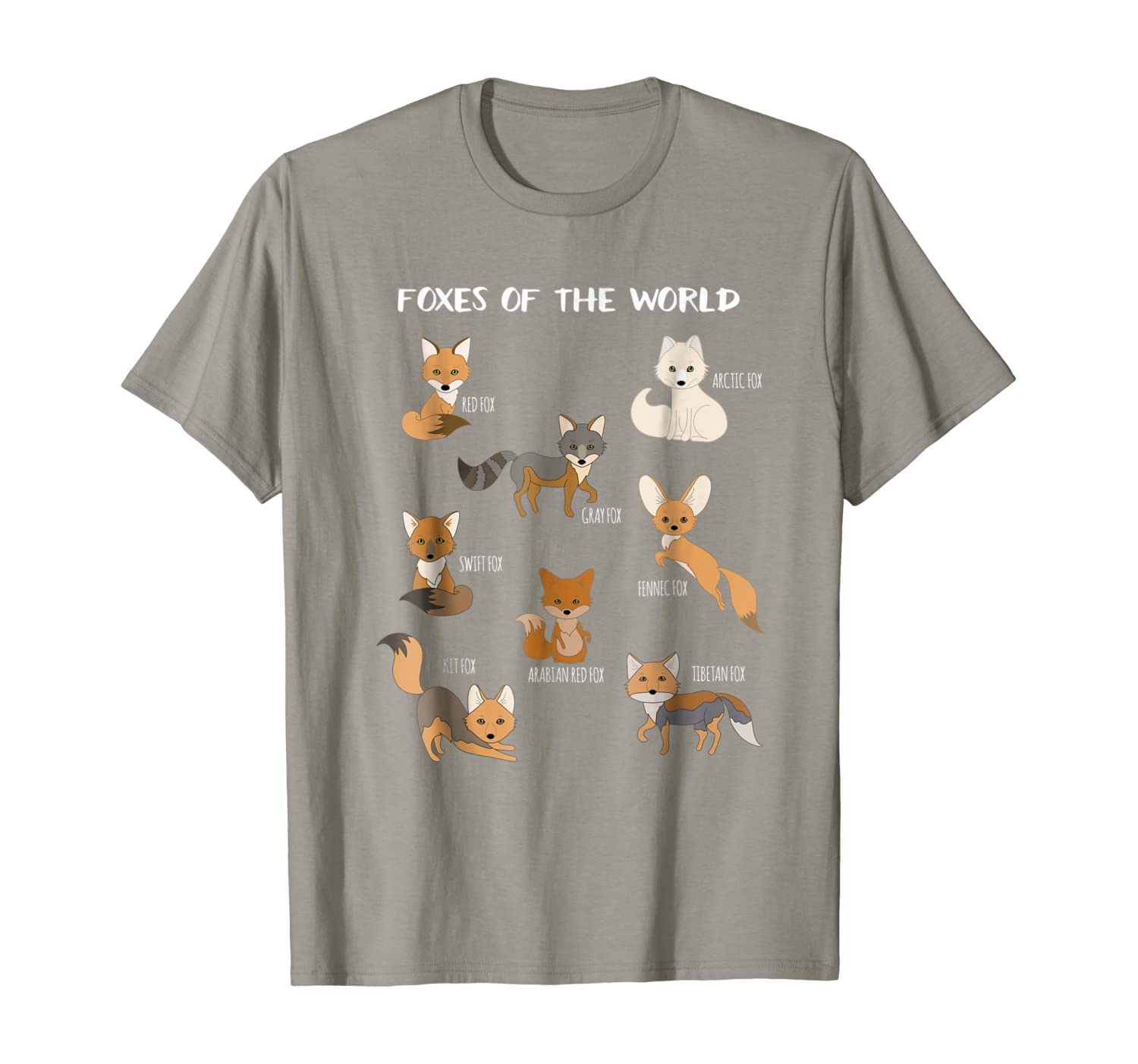 Foxes Of The World Funny Fox Animals Educational T Shirt