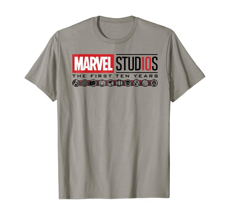 0213ae751ce Amazon.com  Marvel Studios First Ten Years Logo Icons Graphic T ...