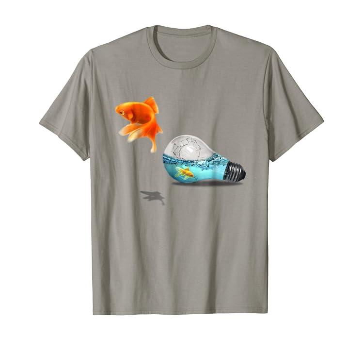 Amazon Com Aquarium Fish Jump From Broken Light Bulb T Shirt Clothing