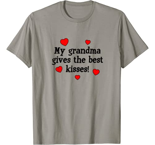 My Grandma Gives The Best Kisses Funny Grandchild Love Gift T Shirt