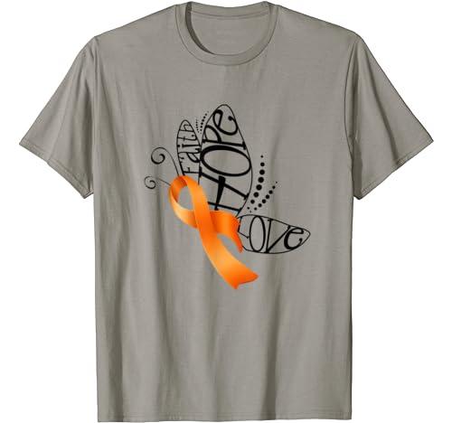 Faith Hope Love Butterfly Ribbon Leukemia Cancer Awareness T Shirt