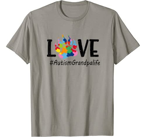 Mens Love Bear Paw Autism Grandpa Autism Awareness Costume T Shirt