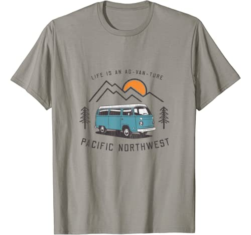 Life Is An Ad Van Ture Pacific Northwest   Van Camping T Shirt