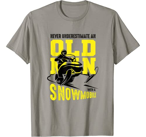 Never Underestimate An Old Man With A Snowmobile Gift T Shirt