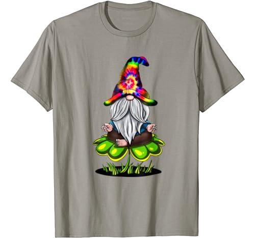Hippie Tie Dye Gnomes Yoga St Patrick's Day Shamrock Namaste T Shirt